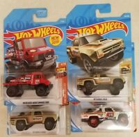 2019 HOT WHEELS lot of 4 ~ '87 DODGE D100 x's 3 + 1 Mercedes-Benz Unimog 1300