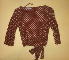Prada Brown 100%Silk Polka Dot Bow Blouse Button Back Size 38 Made in IT