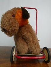 Vintage Lefray Push Along Dog - Sit On/Walker On Wheels - Brown/Chocolate Brown
