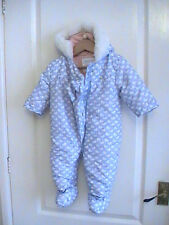 BABY SNOW SUIT PRAM COAT JACKET FROM BOOTS MINI CLUB DUCKS BLUE FLUFFY HOOD