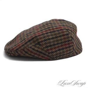 Hucklecote Vintage Brown Multi Checked Tweed British Country Flat Driving Cap XL