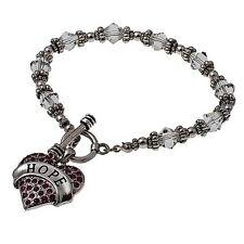 HOPE Pink Rhinestone Heart Toggle Bracelet, by Judson & Co