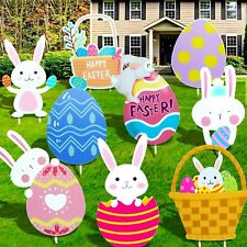 9 Pcs Easter Yard Signs Outdoor Lawn Decorations