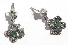 EMERALD BUTTERFLY Smaragd facettiert Markasit 925 Silber Ohrringe Schmetterling