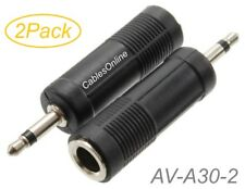 """2Pack 1/4"""" (6.3mm) Stereo TRS Female to 3.5mm (1/8"""") Mono TS Male Audio Adapters"""