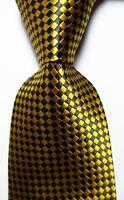 New Classic Checks Gold Black JACQUARD WOVEN 100% Silk Men's Tie Necktie