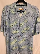 Havana Jack's Cafe Hawaiian style button front shirt size M Coconut Shell Button
