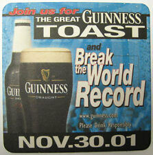 THE GREAT GUINNESS TOAST & BREAK WORLD RECORD Beer COASTER, Mat, IRELAND 2001