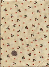 """A Tiskit A Tasket"" Print rusty red green & cream on ecru Fabric by Marcus"