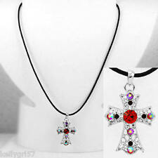 Cross, Beautiful Red Rhinestone, Black Cord. Religious Gift Nice Necklace #311-B