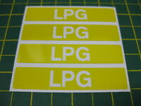 4 LPG STICKERS IN WHITE ON YELLOW