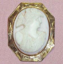 brooch antique/vintage á´® h6 Deep carved cameo 14K pin