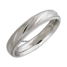 10K WHITE GOLD MENS WEDDING BANDS,UNISEX SATIN FINISH  4MM WEDDING RINGS