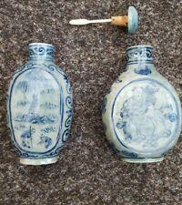 2 Chinese Blue Enamel Vintage Victorian Oriental Antique Snuff Perfume Bottles