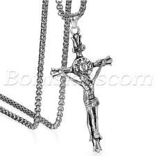 Men's Large Stainless Steel Cross Crucifix Jesus Christ Pendant Necklace Chain