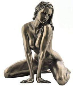 NEW! Artistic Nude Woman Kneeling Bronze Finish Female Statue Erotica