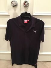 Puma Men short sleeve navy blue pique embroidered logo Polo size Medium