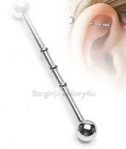 14g-32mm Surgical Steel NOTCHED Industrial Ear Barbell with BALL ENDS