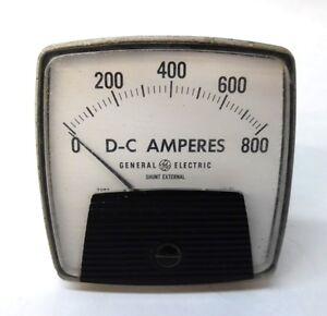"GENERAL ELECTRIC PANEL METER, 0-800 DC-AMPERES, 3.5"" X 3.5"" X 2.5"""