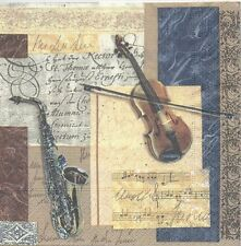 2 Serviettes en papier Musique Violon Paper Napkins Music