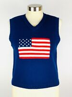 THE LIMITED USA Flag Pullover Vest Sweater Womens Size L Large Navy Blue