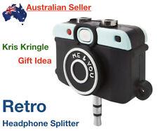 Headphone Splitter Camera Vintage Retro Earphone 3.5mm Jack Audio 1 In 2 Phone