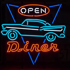 "Car Open Neon Sign Light Home Room Wall Decor Visual Artwork Real Glass17""x17"""