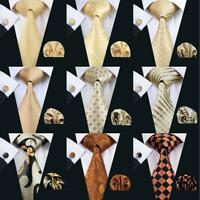 Classic Mens Tie 100% Silk Necktie Solid Gold Orange Tie Set Jacquard Wedding