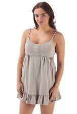 Ladies Parisienne style cotton cami chemise nightdress nightwear in mink