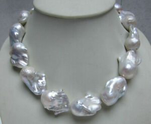 NEW HUGE NATURAL AAA++ SOUTH SEA WHITE BAROQUE PEARL NECKLACE 18''