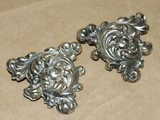 "Puffy Triangular Pin Brooch Set 2"" 2 Vtg Antique Silver Plate Floral Scrolled"