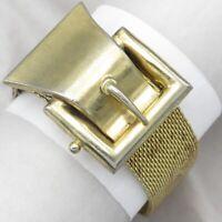 Vtg 1940's Victorian Revival Mesh Buckle Tassel Slide Wide Gold Tone Bracelet