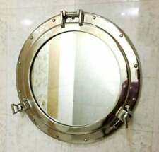 """20"""" Nickel Plated Canal Boat Porthole-Window Ship Round Mirror Wall Decor"""