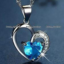 Blue Crystal Heart Silver Necklace Valentines Birthday Gifts for Her Girls V1