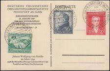 Bizone Goethe auf Gedenkkarte mit SST Mi.Nr. 108-10 Mi.Wert 70 € (5603)