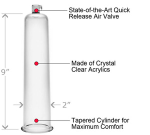 """Size Matters Penis Pumping Cylinder, 2"""" Diameter - Clear"""