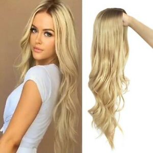 Women Synthetic Wavy Full Wig Blonde Dark Root Middle Part Curly Hair