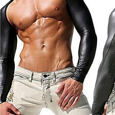 Mens Faux Leather Mesh Hollow Arm Long Sleeve Shrug PU T-shirt DJ Clubwear EOAU