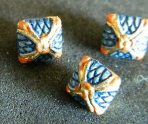 """3 DIMINUTIVE Metal Antique Vtg Buttons Blue w Orange Square 1/4"""" Pillow Shape"""