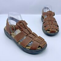Bare Traps All Star Women Brown Leather Fisherman Sandal Shoe Size 7.5 Pre Owned
