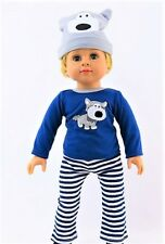 Pajama Pants Shirt Hat For 18 In American Girl Boy Doll Logan Clothes