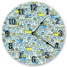 "10.5"" BLUE BABY BOYS STUFF CLOCK Large 10.5"" Wall Clock Home Décor Clock - 3012"