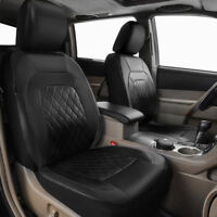 Universal 2 Front Car Seat Covers Protector PU Leather Black Durable Anti-dirty