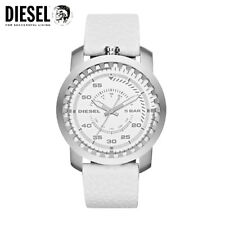 NWT Diesel Men's DZ1752 Rig Stainless Steel White Leather Watch MSRP $ 140.00