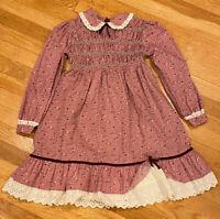 Vintage Polly Flinders Floral Prairie Hand Smocked Ruffle Rose Dress Girls 8