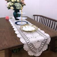 Vintage Hand Crochet Cotton Lace Table Runner Dresser Scarf Doily Tabletop Decor