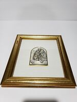 Sterling Silver 925 Italy Repose Relief Prodigal So Portrait Wood Frame Wall Art
