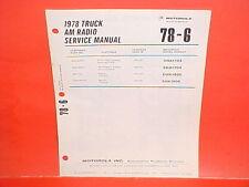 1978 IH INTERNATIONAL HARVESTER MACK TRUCK MOTOROLA AM RADIO SERVICE SHOP MANUAL