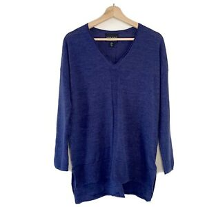 Cynthia Rowley 100% Extra fine Merino Wool Jumper Sweater Indigo Blue Size M