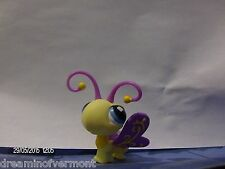 Littlest Pet Shop Yellow Butterfly with Purple Wings/Antenna and Blue Eyes #621